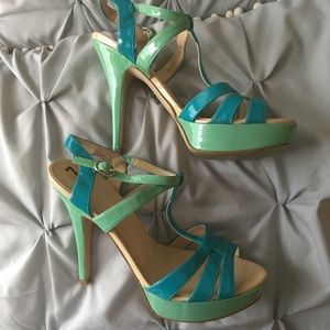 Blue and mint heels
